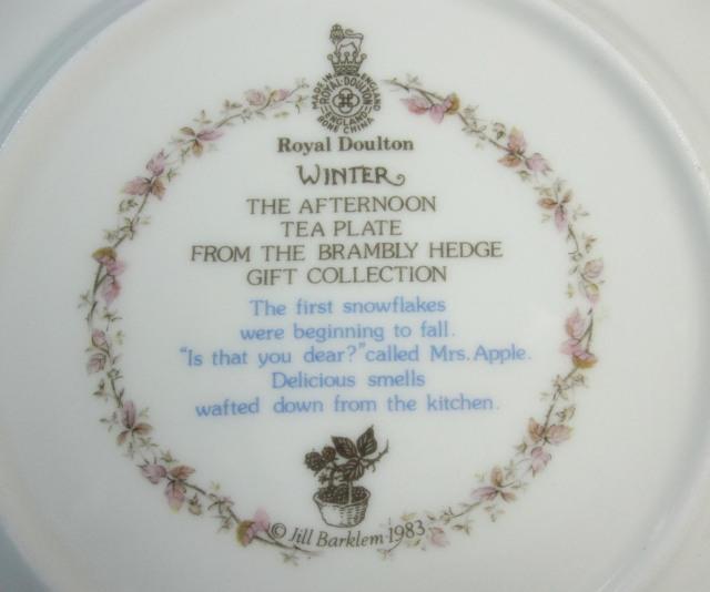 ロイヤルドルトン Royal Doulton  ブランブリーヘッジ  16cmプレート ウィンター 【ロイヤルドルトン廃盤品/個数限定】